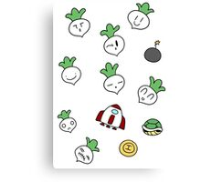 SMB2 Turnips and Items Canvas Print