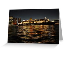 Queen Mary 2 Ocean liner at night in Sydney Australia Greeting Card