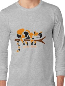 Cool Funny Funky Calico Cat Sleeping in Tree Long Sleeve T-Shirt
