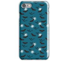 Flying bats and full moon iPhone Case/Skin