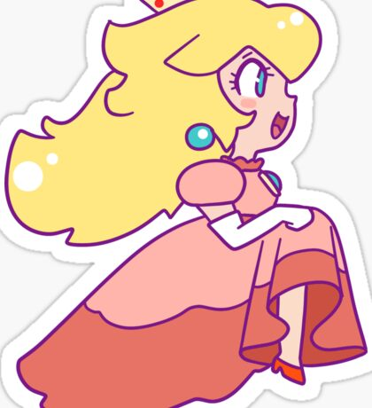 Peach Running Sticker