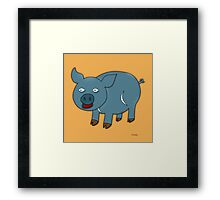 Blue Pig Framed Print