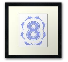Baby learns to count with blue dolphin 8 Framed Print