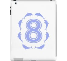 Baby learns to count with blue dolphin 8 iPad Case/Skin