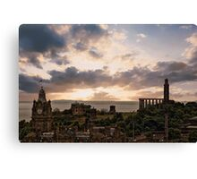 Calton Hill From Edinburgh Castle Canvas Print