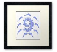 Baby learns to count with blue dolphin 9 Framed Print