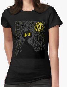 Black cat - Halloween Womens Fitted T-Shirt