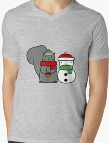 Squirrel and Tiny Snowman Mens V-Neck T-Shirt