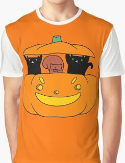 Pumpkin Squirrel and Black Cats Graphic T-Shirt