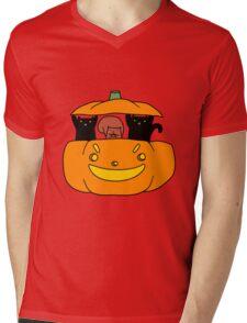 Pumpkin Squirrel and Black Cats Mens V-Neck T-Shirt