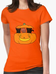 Pumpkin Squirrel and Black Cats Womens Fitted T-Shirt