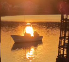 Cape Porpoise Boats, Lobster Traps at Sunset Sticker