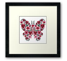 Watercolor Floral Butterfly with Bright Red Flowers and Deep Green Leaves Framed Print