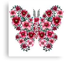 Watercolor Floral Butterfly with Bright Red Flowers and Deep Green Leaves Canvas Print