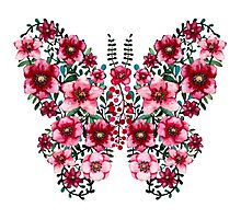 Watercolor Floral Butterfly with Bright Red Flowers and Deep Green Leaves Photographic Print