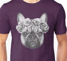 French Bulldog with roses Unisex T-Shirt