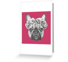 French Bulldog with roses Greeting Card