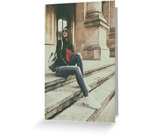 Young Beautiful Girl Posing In Autumn Outfit Greeting Card