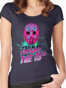 FRIDAY THE 13TH Neon V Women's Fitted Scoop T-Shirt