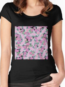 Bohemian country pink green watercolor floral. Women's Fitted Scoop T-Shirt