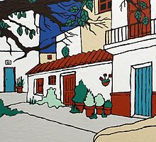 Spanish Village Scene by Adam Regester