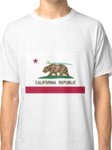 California Flag Surf Bear with Surfboard Classic T-Shirt
