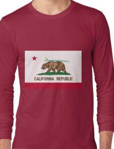 California Flag Surf Bear with Surfboard Long Sleeve T-Shirt