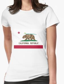 California Flag Surf Bear with Surfboard Womens Fitted T-Shirt