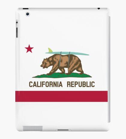 California Flag Surf Bear with Surfboard iPad Case/Skin