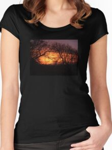 FIERY DAWN SUNRISE BEHIND SILHOUETTED TREES IN DEVON Women's Fitted Scoop T-Shirt