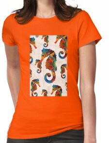 Colorful Seahorse Collage Art by Sharon Cummings Womens Fitted T-Shirt