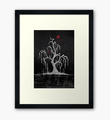 Red Moon White Willow Framed Print