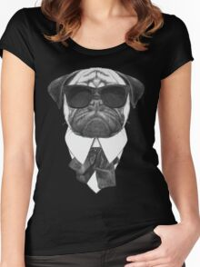 Pug In Black Women's Fitted Scoop T-Shirt