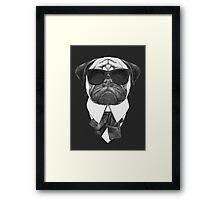 Pug In Black Framed Print