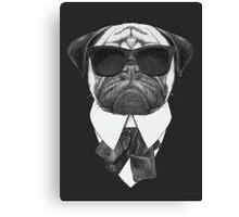 Pug In Black Canvas Print