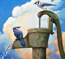 Blue Jays on Old Water Pump Bird realistic animal portrait painting by LindaAppleArt