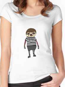 Cool Funky Goth Sloth Cartoon Women's Fitted Scoop T-Shirt