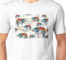 Bright Colorful Shrimp Collage Art by Sharon Cummings Unisex T-Shirt