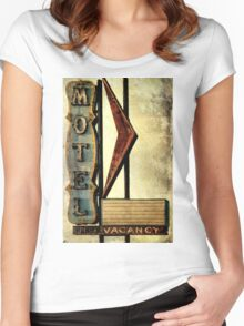 Vintage Arrow Motel Sign, Lompoc, CA Women's Fitted Scoop T-Shirt
