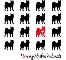 I love my Alaskan Malamute - breed dog dark Photographic Print
