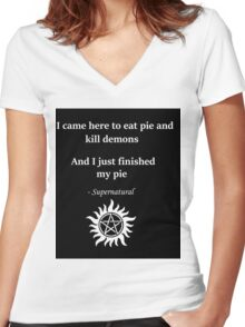 Dean Winchester and Pie Women's Fitted V-Neck T-Shirt