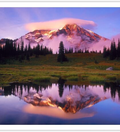 A REFLECTION OF MT. RAINIER IN THE WATER Sticker