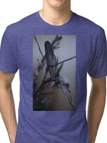 First dead bird skull burning with a black flame feather Tri-blend T-Shirt