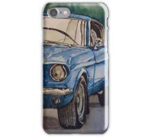 Vintage blue pony car antique muscle iPhone Case/Skin