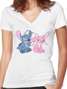 Angel and Stitch Women's Fitted V-Neck T-Shirt