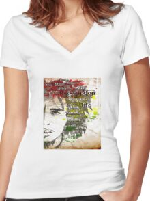Awesome Bob Marley Graphic Typographic Art  Women's Fitted V-Neck T-Shirt