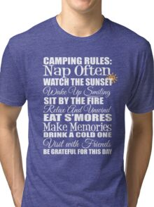Happy Campers Camping Rules T-Shirt Tri-blend T-Shirt