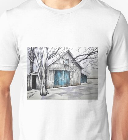 Blue door barn ink drawing with colored pencil Unisex T-Shirt