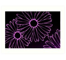 pink neon daisies Art Print