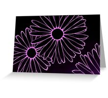 pink neon daisies Greeting Card